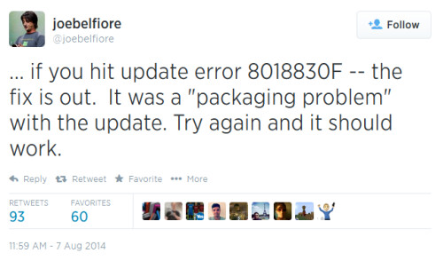 Error code 80188306 prevents the installation of Windows Phone 8.1 Update 1