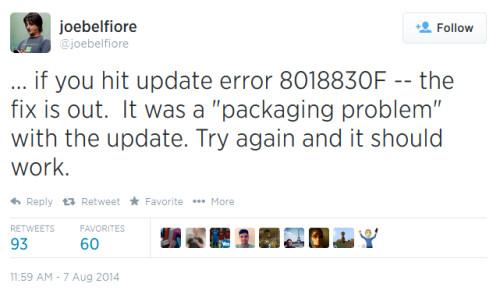Error code 80188306 prevents the installation of Windows Phone 8.1 Update 1