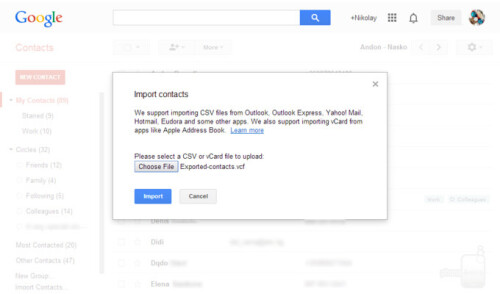 Import vCard into Google account