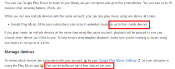 Google limits Google Play Music users to four de-authorizations a year