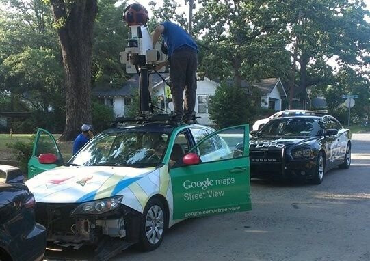 Google Street View car goes the wrong way down one-way street, causes accident
