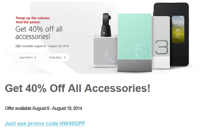 From now through August 18th, all accessories for the Huawei Ascend Mate 2 4G are 40% off with the checkout code - Promo code cuts 40% off the price of accessories for the Huawei Ascend Mate 2 4G, from Huawei's site