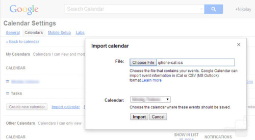 Import your calendar