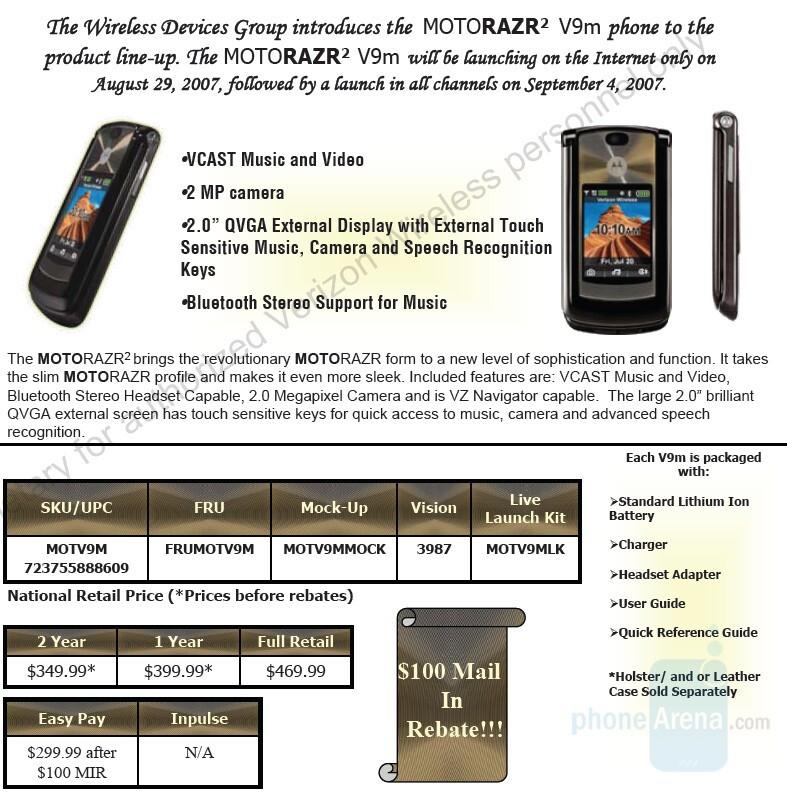 Verizon launches RAZR2 V9m next Wednesday
