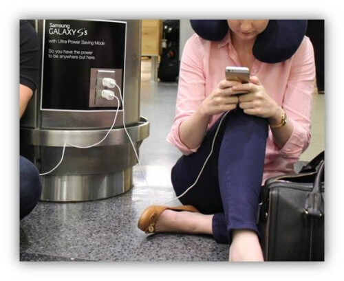 Samsung cleverly places Galaxy S5 Ultra Power Saving Mode ads in select US airports