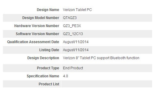 Verizon has an 8 inch tablet coming, that just made it through the Bluetooth SIG - Big Red has 8-inch slate coming?