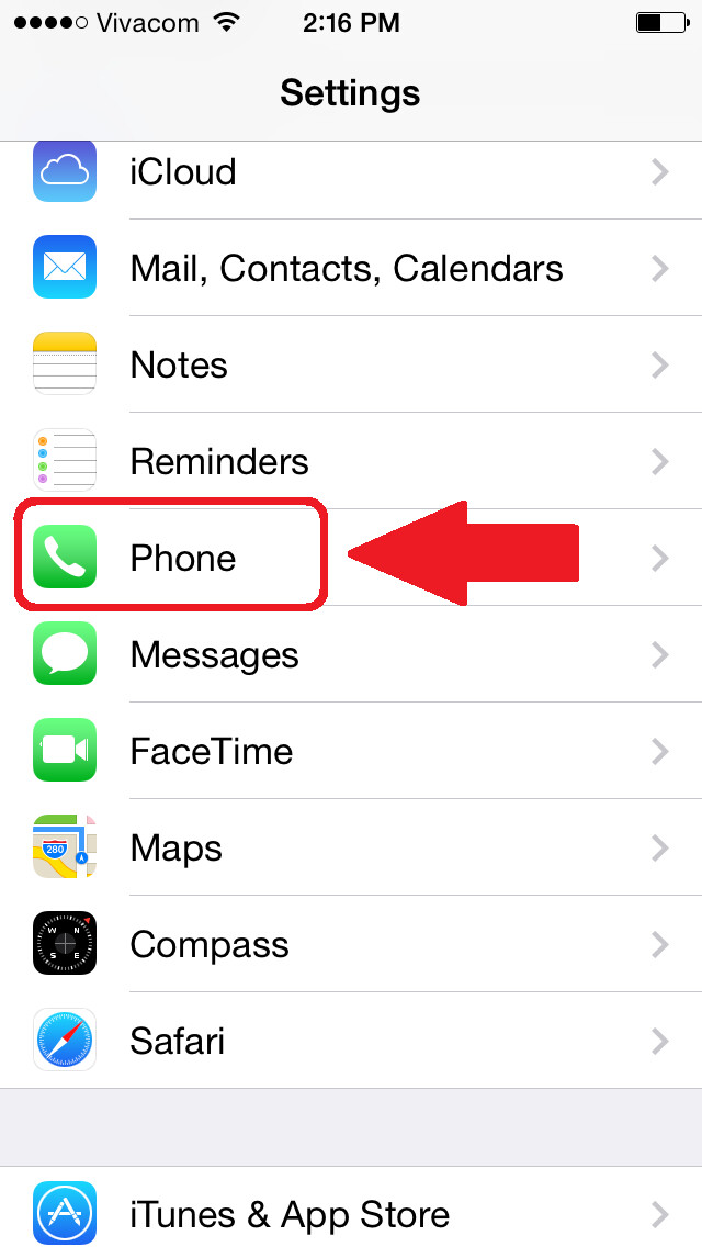 Open Settings and scroll down to the Phone tab