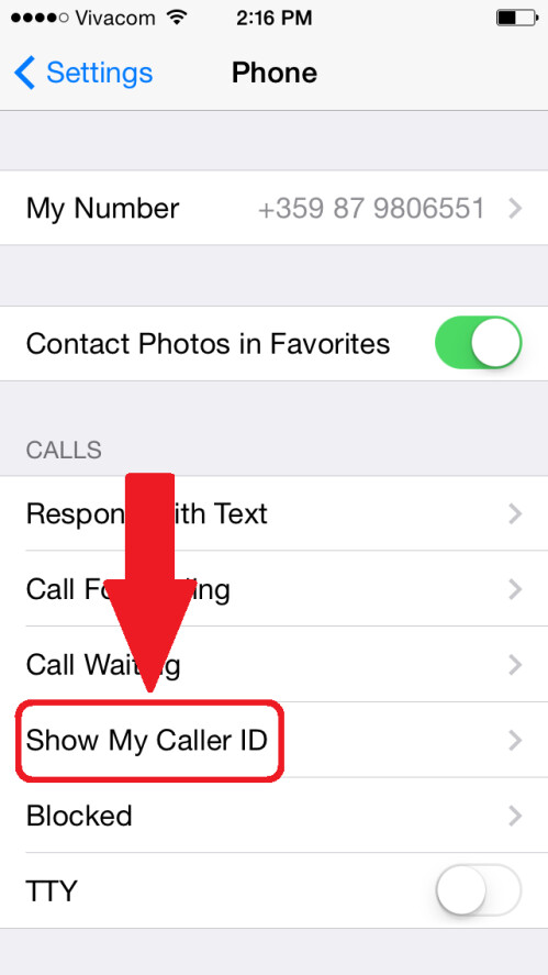 Tap on the Show Caller ID option a little below