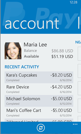 Screenshots from PayPal for Windows Phone 8