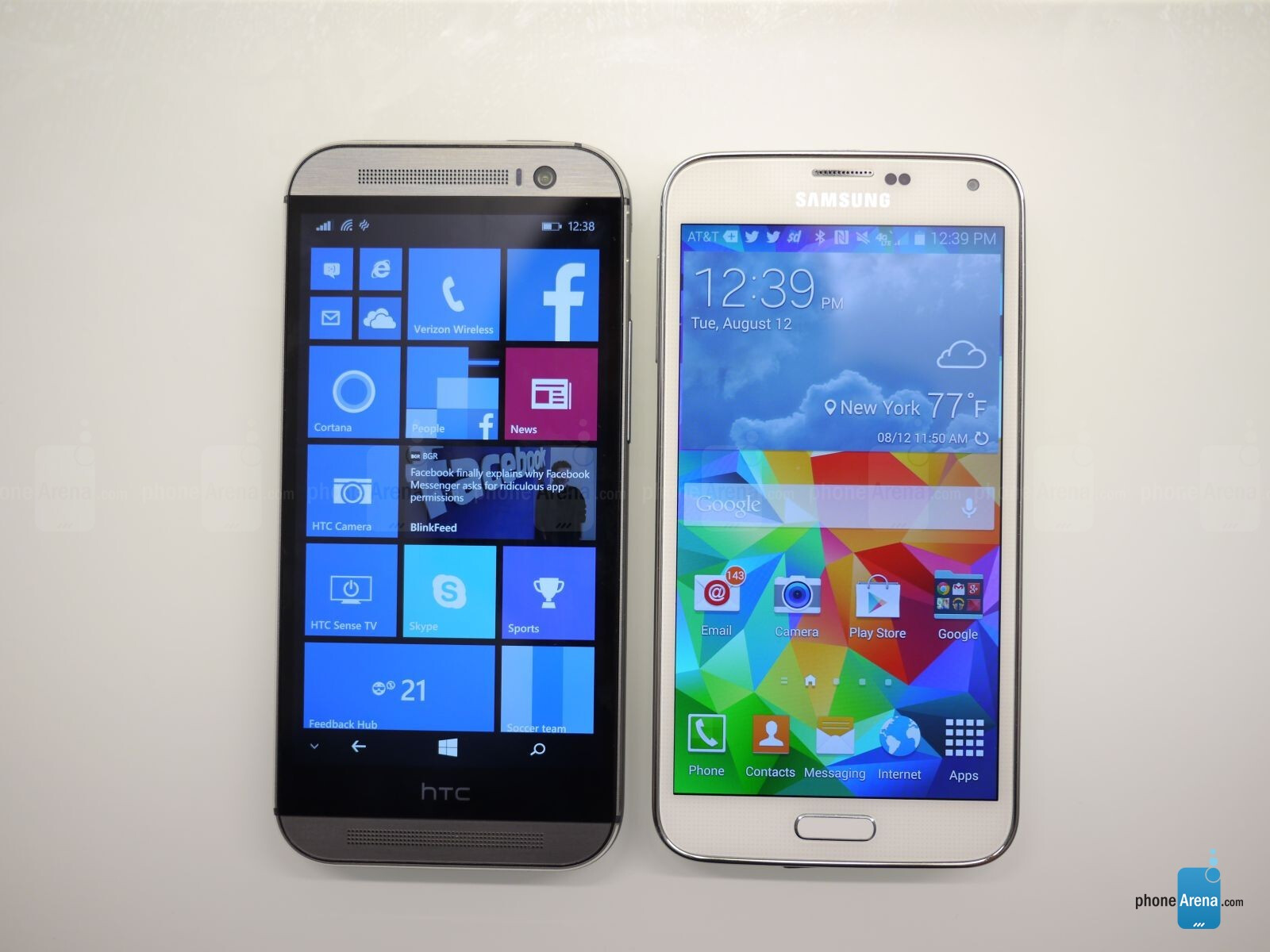 HTC One M8 for Windows vs Samsung Galaxy S5: first look  PhoneArena reviews