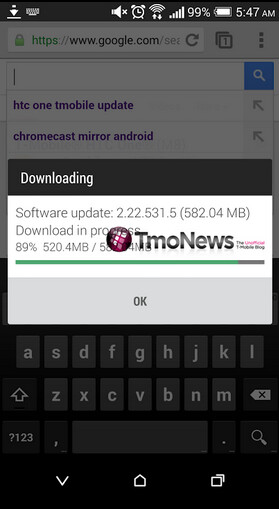 Screenshots show the Android 4.4.3 update for T-Mobile's HTC One (M8)