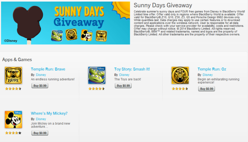Disney is offering four free games in BlackBerry World - Disney giving away four free games in BlackBerry World