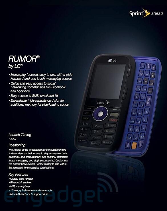 LG RUMOR - Sprint readies 4 new phones, 3 with QWERTY
