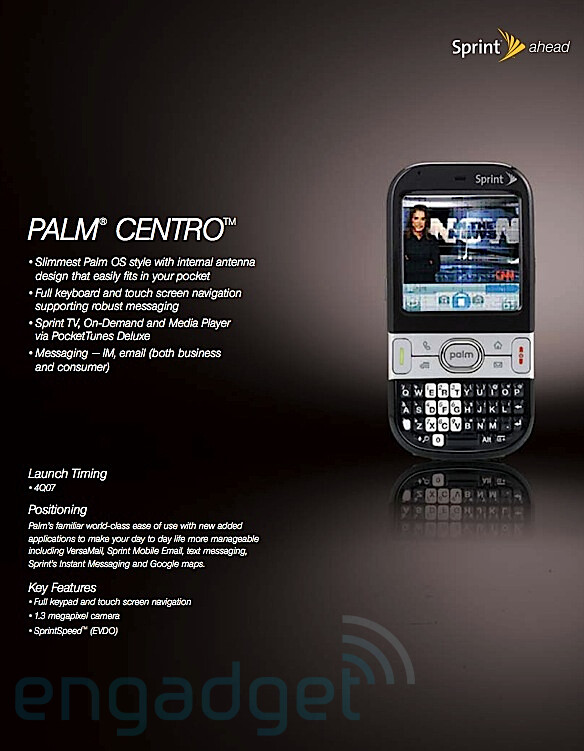 Palm Centro - Sprint readies 4 new phones, 3 with QWERTY