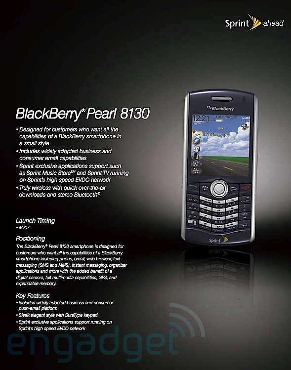 BlackBerry Pearl - Sprint readies 4 new phones, 3 with QWERTY