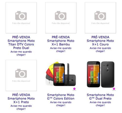 Specs for the Motorola Moto X+1 and Motorola Titan appear on Brazilian retailer's website