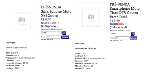 Specs for the Motorola Moto X+1 and Motorola Titan appear on Brazilian retailer's website
