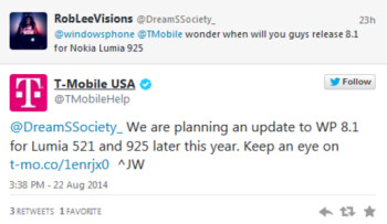 T-Mobile says it will update the Nokia Lumia 521 and Nokia Lumia 925 to Windows Phone 8.1 later this year
