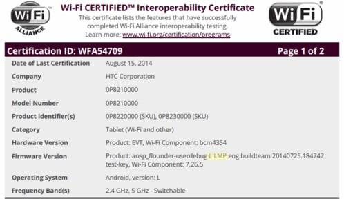 HTC tablet Wi-Fi certification
