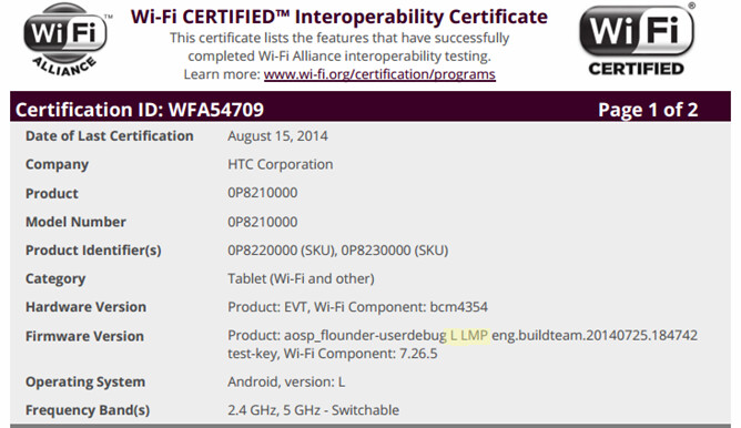 HTC tablet Wi-Fi certification