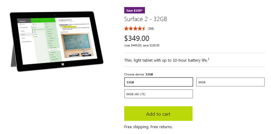 Save $100 off the price of the Microsoft Surface 2 from the online Microsoft Store - Prices slashed by $100 on Microsoft Surface 2 models