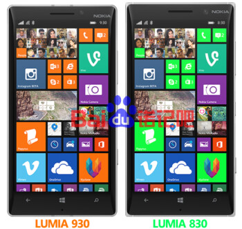 Render shows the Nokia Lumia 830 posing next to the Lumia 930, the former might come with an IPS LCD display