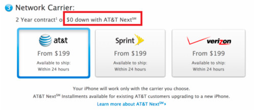 The online Apple Store now supports the use of AT&T Next for iPhone purchases