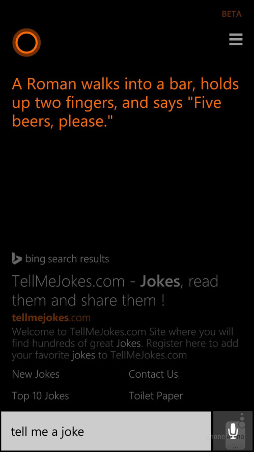 Cortana running on Windows Phone 8.1
