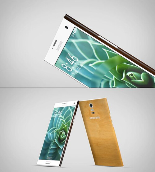 Stylish Note 4 concept with customized, wooden back