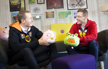Mikael Hed (left) and Pekka Rantala (right) have begun a transition where Pakka will assume the role of CEO of Rovio Janurary of next year.  Hed will lead Rovio Animation Studios