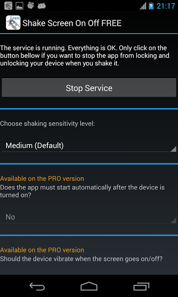Shake Screen On Off