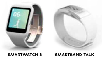 Fuzzzy renders of two wearables by Sony, both expected to be introduced this coming week at IFA 2014