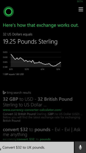 Cortana turns U.S. dollars into British Pound