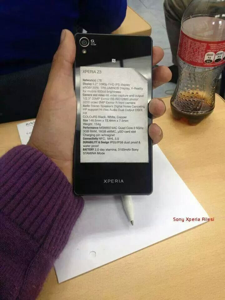 Xperia Z3 specs sheet - Sony Xperia Z3 full specs sheet pops in the wild: 600 nits screen, thinner chassis