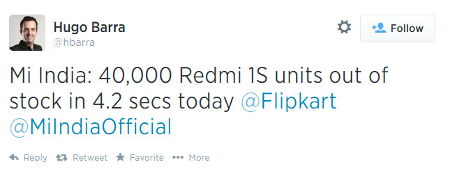 Another flash sale success for Xiaomi - In 4.2 seconds, Xiaomi sells 40,000 Xiaomi Redmi 1S units in India