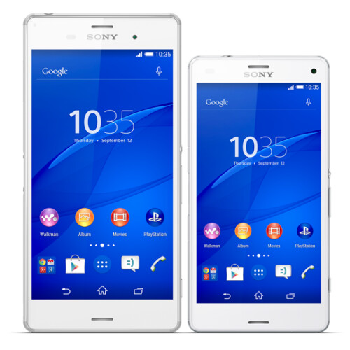 The Xperia Z3 (left) alongside the Z3 Compact (right)