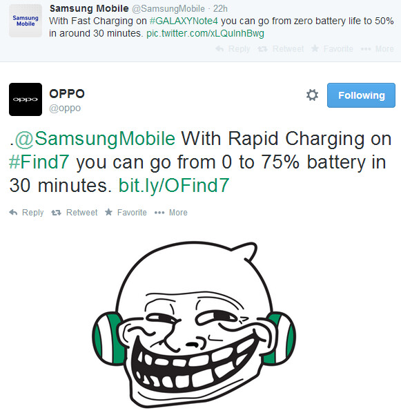 Oppo trolls Samsung, says the Galaxy Note 4's Fast Charging feature isn't that impressive