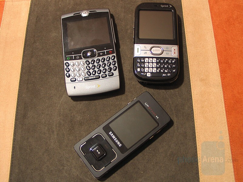 Palm Centro next to Motorola Q and Samsung UpStage - Hands-on with Palm Centro for Sprint
