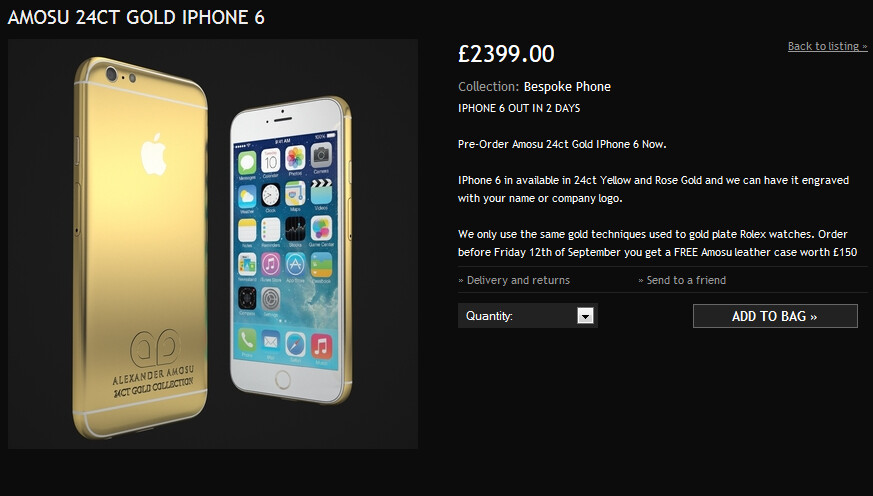 Pre-order the Apple iPhone 6 now, in 24K Gold - Pre-order the Amosu 24K Gold Apple iPhone 6 starting at $3872