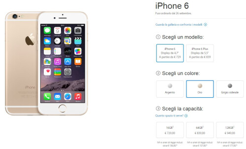 Apple iPhone 6 pricing in Italy