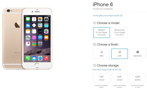 Apple iPhone 6 pricing in UK