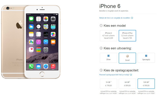 Apple iPhone 6 pricing in the Netherlands