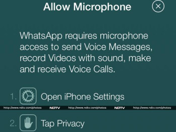 Pop-up message that appears if your iPhone doesn't give WhatsApp permission to use the microphone on the phone