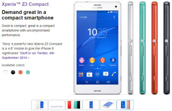 "Sony Xperia Z3, Z3 Compact and Z3 Tablet Compact listed as ""coming soon"" in the US"