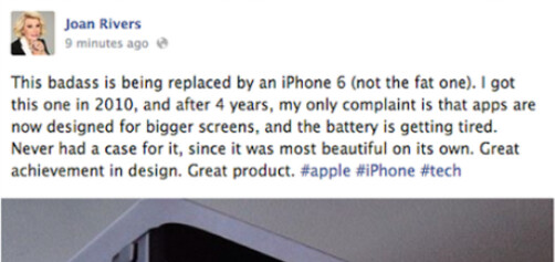 Yes, there are iPhones in heaven - Here's proof that there are iPhones in heaven; Joan Rivers says she just bought one