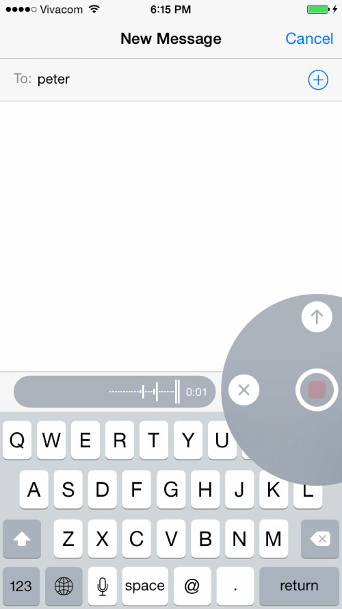 Quickly send a voice message to other iOS users