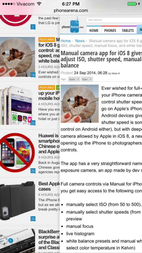 Swipe right to go back a page in Safari