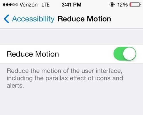 Disable Motion effects