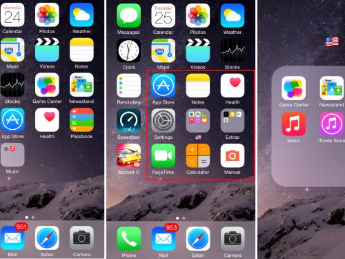 Rearrange homescreen icons and use folders