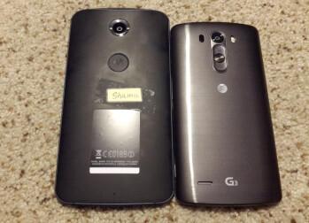 Motorola Shamu / Nexus X photographed next to LG's G3?